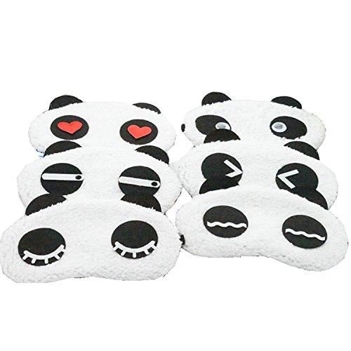 Bestsupplier Lovely Panda Face Sleep Masks Eye Mask Sleeping Blindfold Nap Cover 6 PCS