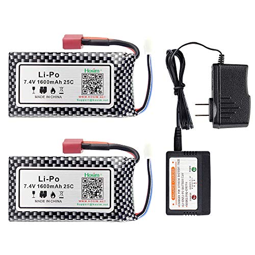 Hosim 2pcs 7.4V 1600mAh 25C T Connector Li-Polymer Rechargeable Battery Pack and 1pcs Balance Charger, Li-Po Rechargeable Battery for Hosim 9125 Truggy High Speed Truck Accessory Supplies