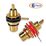 Conwork 6-Pack RCA Female Socket Connector Chassis Panel Mount Adapter for Amplifier Audio Terminal RCA Plug