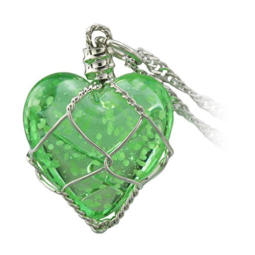 FM42 Glow in the Dark Green Heart Pendant Necklace, Glow Green Light GN2003 (Dark Angel Halloween Costume For Kids)