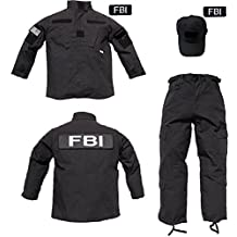 tTrooper Kids 3 pc Trooper Black Tactical FBI Ripstop Uniform Costume