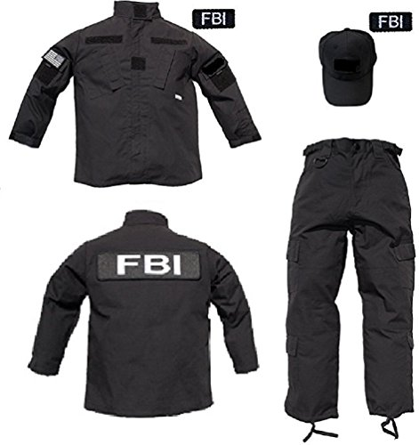 Kids 3 pc Trooper Black Tactical F.B.I. Uniform (S) -