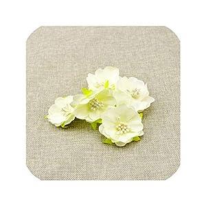 Tokyo Summer 10Pcs Artificial Flowers for Wedding Decoration Silk Stamens for Needlework DIY Handmade Bride Wreath Accessories Pompom,Milk White 1