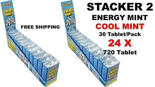 Cheap Stacker 2 Energy Energy Mint (Cool Mint) 30 Tablet/Pack (Lot of 24 X Packs) = 720 Tablets, Free Shipping
