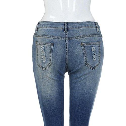 Crayon Jean Pantalons Bleu Mode Stretchy Trou Taille Denim DChir Casual Femmes ADESHOP Slim Skinny Chic Jeans Jeans Haute SaOTwWR
