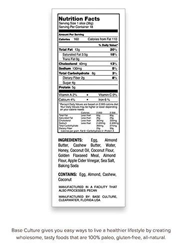 Paleo Bread, 100% Gluten Free Certified, 18 Slices Per Loaf, 5g ...