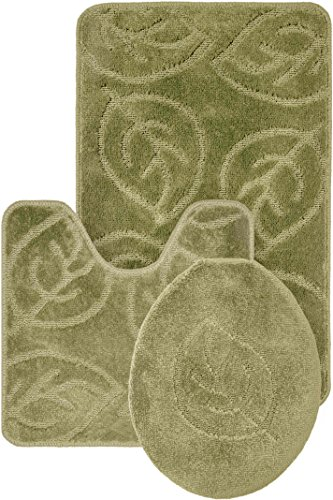 Leaf Pattern Design 3pc Bath Mat Rug set Light Green Soft and Ultra Absobent with Anti-Slip Backing - Leaves Rug