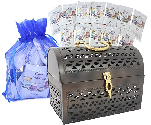 WellPackBox Coffee World Tour Sampler Gift Treasure Chest 15 Packets 1.5 Oz Plus 4 Flavors Chocolate Covered Expresso Beans