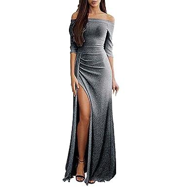 Anliyou - Vestido de Noche para Mujer, hasta el Tobillo, con ...