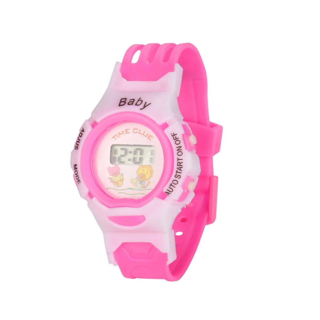 Siviki Colorful Boys Girls Students Time Electronic Digital Wrist Sport Watch (Pink)