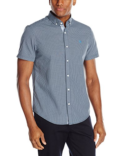 Original Penguin Men's Gingham Short Sleeve Shirt, Dress Blues, Medium