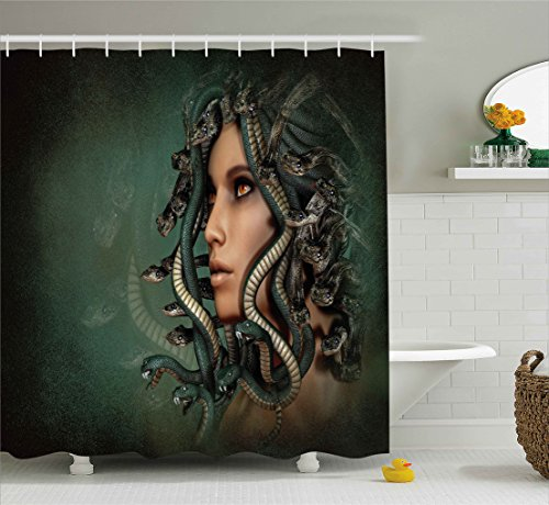 Ambesonne Mythological Decor Shower Curtain, Spiritual Woman with Snakes on Her Head Sacred Occult Style Zen Design, Fabric Bathroom Decor Set with Hooks, 84 Inches Extra Long, Green Tan