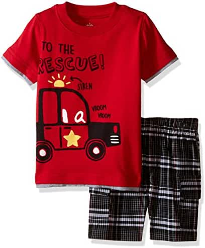 Kids Headquarters Baby Boys' Jersey Tee with Plaid Cargo Shorts
