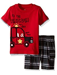 Kids Headquarters baby-boys Baby Baby Jersey Tee With Plaid Cargo Shorts