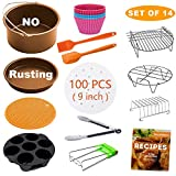 XL Air Fryer Accessories, Set of 14 for Gowise Phillips Cozyna Ninja 4.2/4.5/5.5/5.8/6.5 QT with Recipe Cookbook, Rust Proof 8'' Cake Barrel, Pizza Pan, 9'' Air Fryer Liners, Silicone Oil Brush, Baking Cups, Plate Gripper