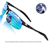 Polarized Driving Sunglasses For Men - SUNMEET Ultra Lightweight Al-Mg Golf Fishing Sports Metal Sunglasses(Blue/Black)