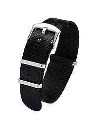 PBCODE Watch Straps Nylon Seat Belt Watch Band 20mm NATO Black