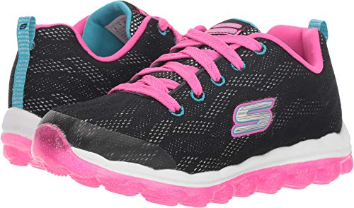 Skechers Girl's Skech-Air - Sparkle Jumper, Walking, Black/Hot Pink, 2 US M
