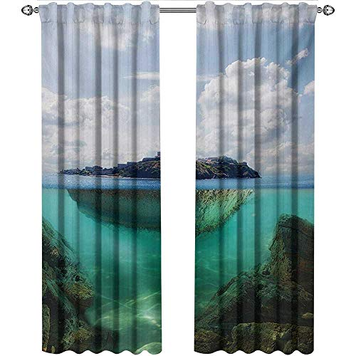 Astoria Clear Crystal (shenglv Island, Blackout Curtains Kids, Floating Rock and Lighthouse in Crystal Clear Atlantic Water Mist Nature Photo, Curtains Living Room, W72 x L108 Inch, Blue Grey White)