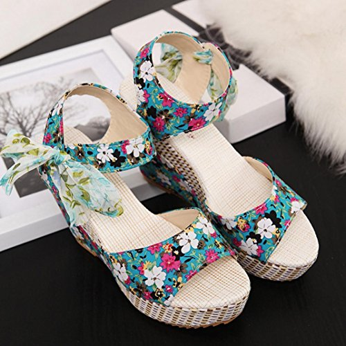 Colorful TM New Summer Women Teenage Girls Flower Peep Toe Wedges Sandals Lace up Thick Bottom Platform Sandals Shoes Blue Ixt36FBh