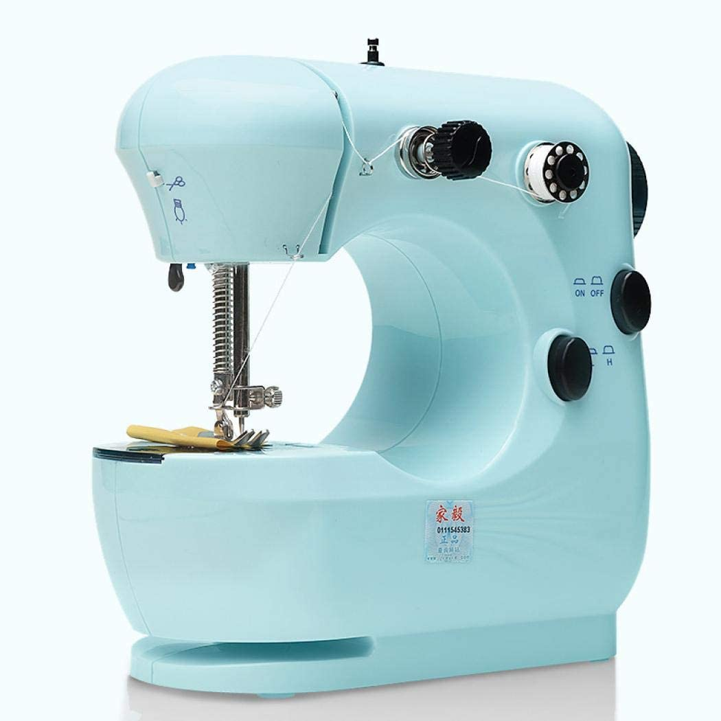Linda mini máquina de coser, máquina de coser eléctrica portátil con lámpara y cortador de hilo para el hogar, alta y baja velocidad British Standard Cian