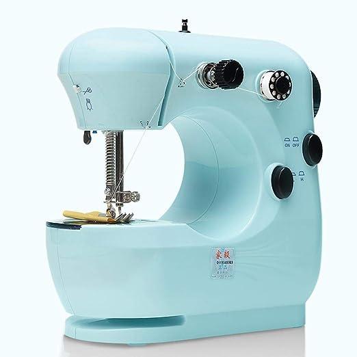 Linda mini máquina de coser, máquina de coser eléctrica portátil con lámpara y cortador de hilo para el hogar, alta y baja velocidad European Standard Cian: Amazon.es: Hogar