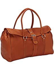 Piel Leather Buckle Flap-Over Satchel, Saddle, One Size