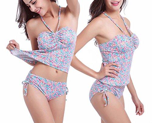 Traje de baño de bikini Floral rayas de lazo de una pieza de corte alto de alta cintura de pierna alta traje de baño traje de baño de playa B