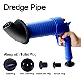 Drain Pump Cleaner,High Pressure Air Power Blaster plunger Gun Unblock Adapters Toilet Wash Basin Cleaner Opener for Home Kitchen Bathroom