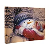 """Clever Creations Snowman Kiss Canvas Wall Hanging Little Girl Kissing Snowman Christmas Image 
