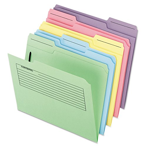 Pendaflex 45270 Printed Notes Folders with Fastener, 1/3 Cut Top Tab, Letter, Assorted, 30/Pack ()