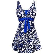 MiYang Womens Bowknot Printing Skirt Spa Swimsuit Bathing Swimwear