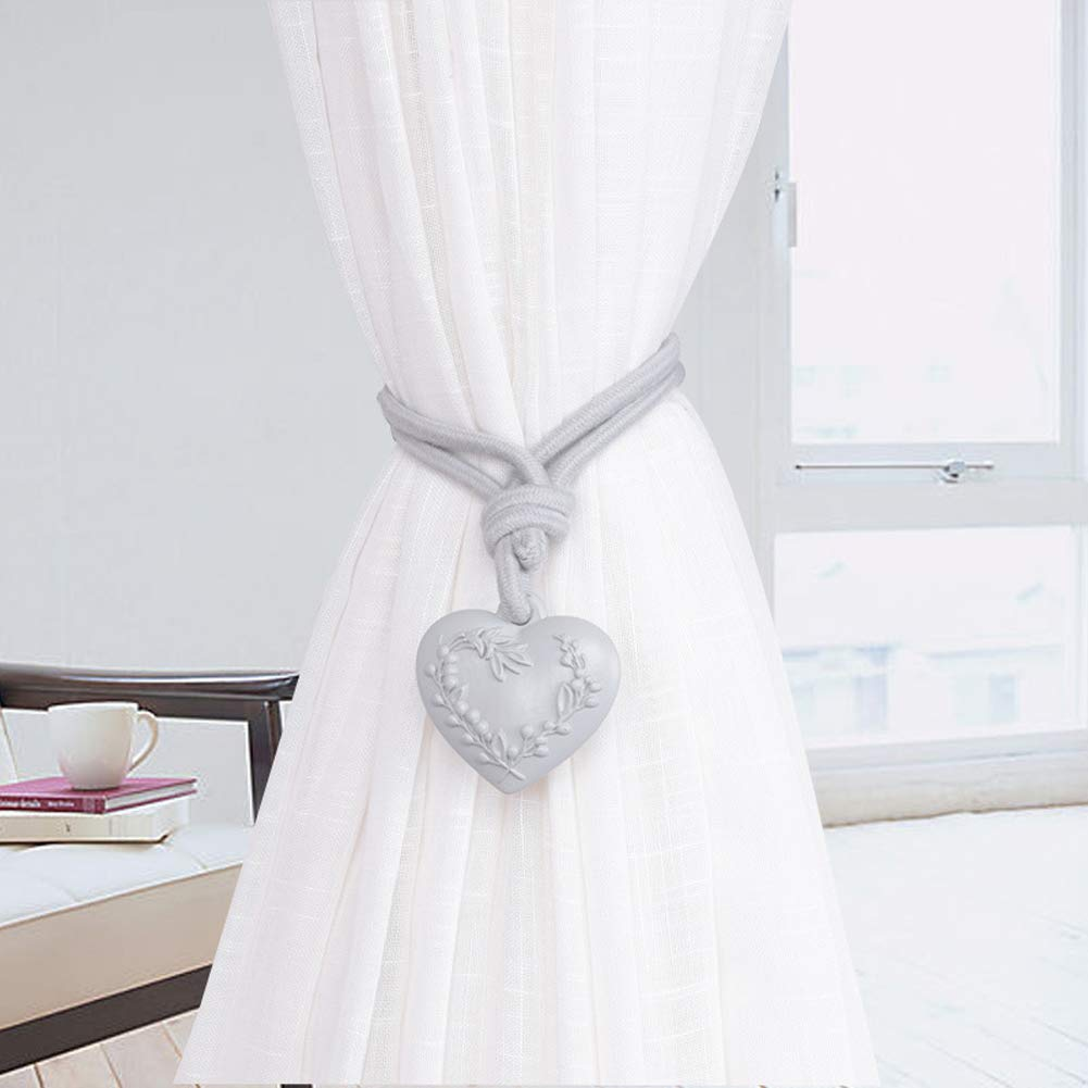 BZ-ZXS Rideau Embrasse Amour Coeur Suspendus Boule Fen/êTre Cravate Corde Porte-Rideau Sangle,Champagne