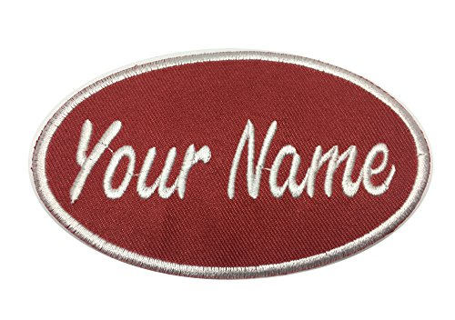 Custom embroidered name patch, Uniform Name Tag, Personalized Label / Iron on/ Sew on/ 2x4 (Red-Oval)