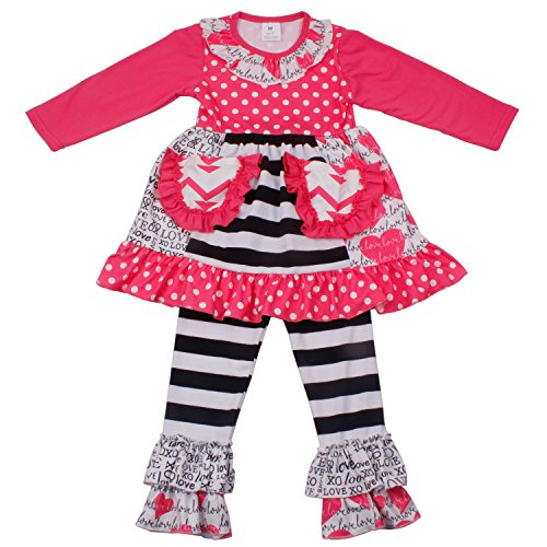 Baby Girls Heart Printed Ruffle Dress Pants Clothes Set Toddler Little Girls Fall Winter Boutique Outfits 8T