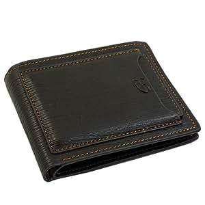 cnomg Hombres Billetera Cartera de cuero marrón / monedero plegable Tarjeta de Crédito
