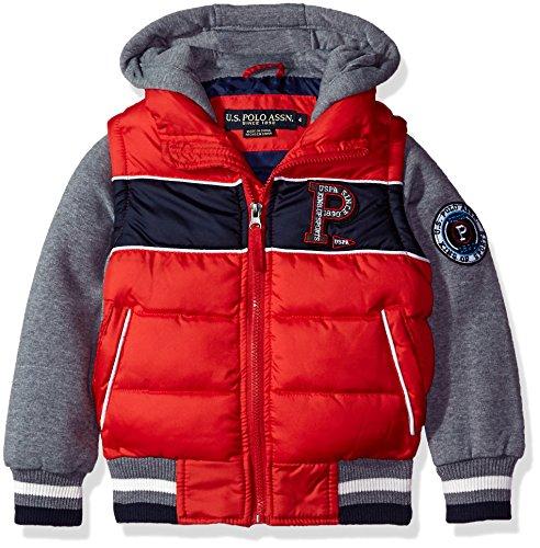 Winter Vest Jacket (US Polo Association Big Boys' Fashion Outerwear Jacket, UB43-Vest-Winning Red, 8)