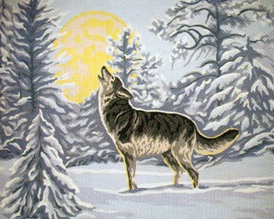 CRY OF THE WINTER WOLF NEEDLEPOINT CANVAS, NOT A KIT, CANVAS (Wolf Needlepoint Kit)