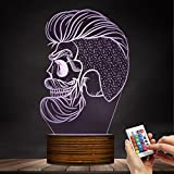 Hispter Skull Shape 3D Night Lamp Barber Shop Beard Skull 3D Illusion Night Light Mancave Personalised Decorative Lighting Gift