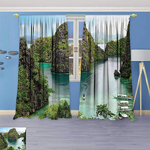 Kids Room Planets Curtains (2 Panels),Decor Landscape of Majestic Cliff in Philippines Wild Hot Nature Resort Off Picture Thermal Insulated Blackout Curtains with Star (Majestic 2 Light Sconce)