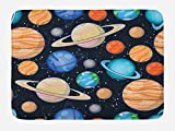 Ambesonne Galaxy Bath Mat, Cute Galaxy Space Art Solar System Planets Mars Mercury Uranus Jupiter Venus Kids Print, Plush Bathroom Decor Mat with Non Slip Backing, 29.5 W X 17.5 W Inches, Multi