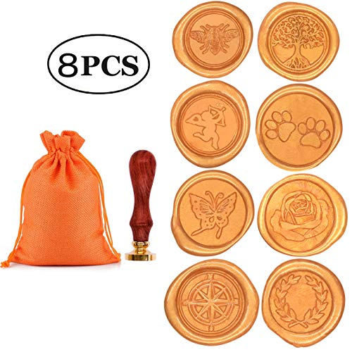 Brass Wax Seal - Wax Stamp Set, Aymayo 8 PCS Wax Seal Stamp Brass Heads and 1 PCS Wooden Handle, Arts & Crafts Vintage Adhesive Sealing Wax Stamp Kit with Gift Bag- Great Gift for a Friend or Yourself