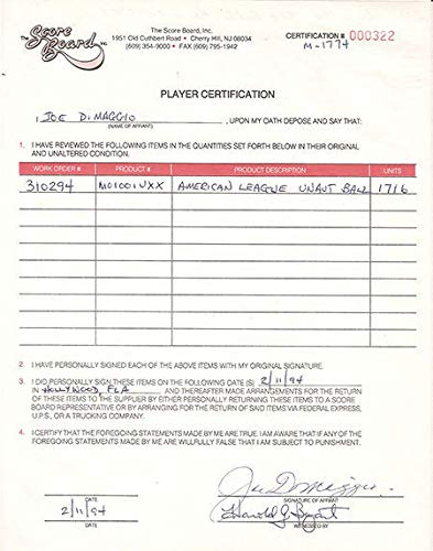 (Joe Dimaggio Autographed Signed Scoreboard Signing Autograph Contract Ny Yankees 1/1 Steiner)