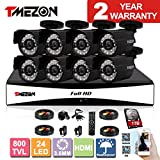 TMEZON 8CH 960H HDMI DVR Kits P2P Recorder 800TVL Cameras Waterproof CCTV Surveillance Security System 3G Remote Mobile Access iPhone Android View 1TB HDD For Sale
