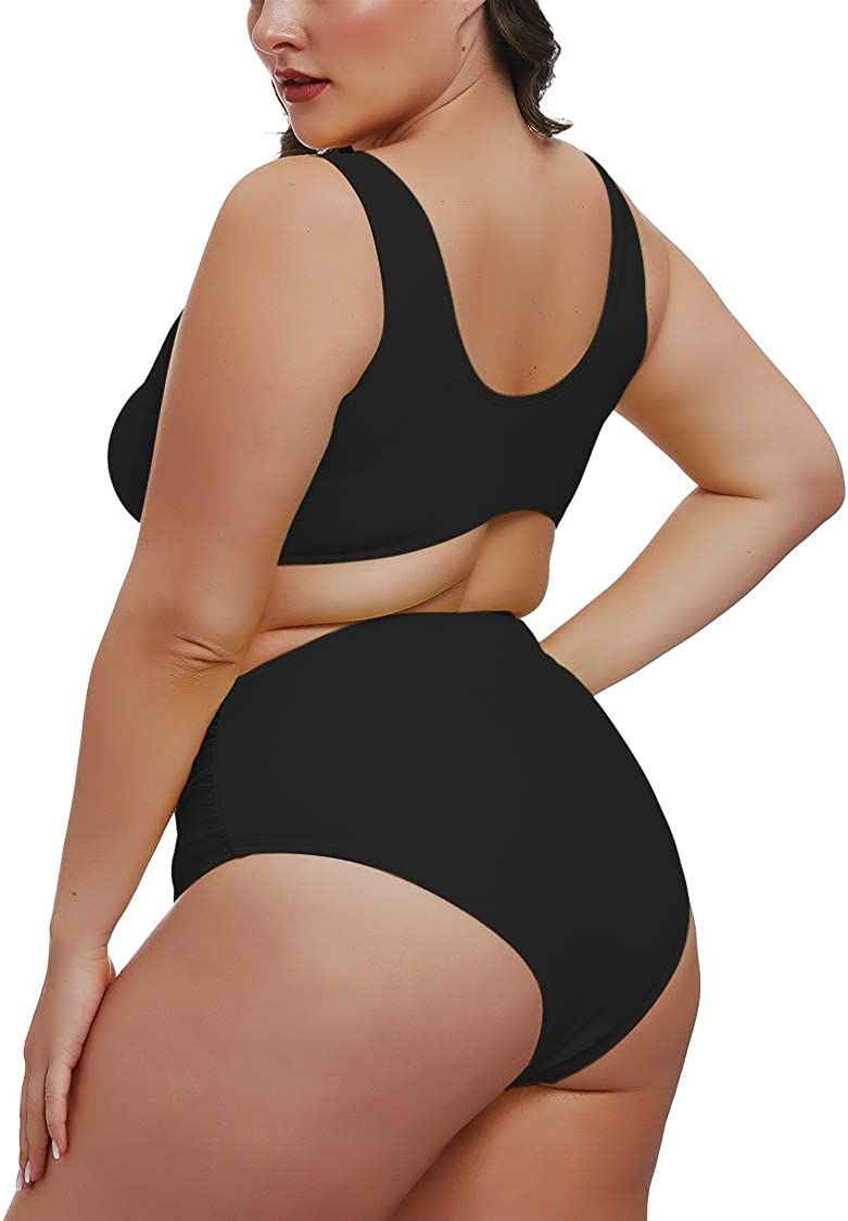 Pink Queen Womens 2 Piece Plus Size High Waisted Swimwear Swimsuits Ruched Tummy Control Bikini Set