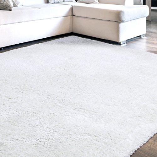 Carpet Art Deco Beaufort Solid Off-white Shag Rug (7'10 x 10'4) - Art Deco Carpets