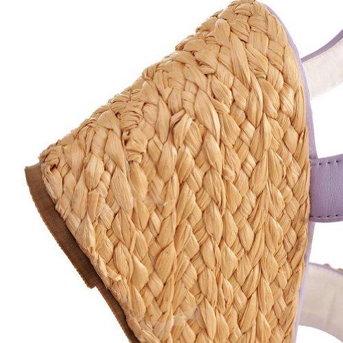Boucle Et forme Des De Femmes Talon Coins Plate Fleurs Sandales Avec De Haut Violet La Voguezone009 Solides Ouvert Des Bout Pu De RcqqvH
