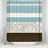 Blue and Brown Shower Curtain Crystal Emotion Stripe Shower Curtain Fabric,Floral Flower Blue Brown Grey 66x72inch