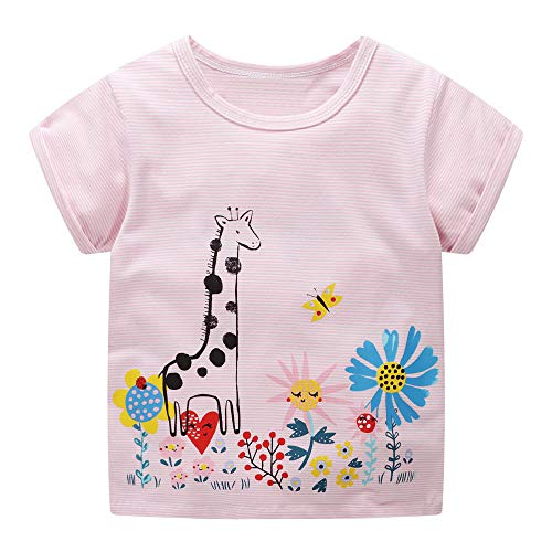 DYW Toddler Girls Short Sleeve T-Shirt Round Neck Cute Graphic Cotton Tees 2-7 Years (Giraffe & Flowers, 5T)