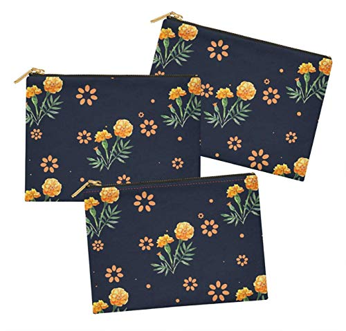 (S4Sassy Blue Marigold Floral Pack of 3 Printed Make Up Cosmetic Bag Coin Purse Toiletry Organizer-6 x 8 Inches)